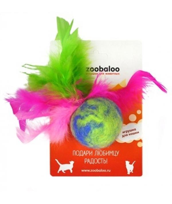 Игрушка для кошек мяч Фьюжн с пером,шерсть 8 см (373)