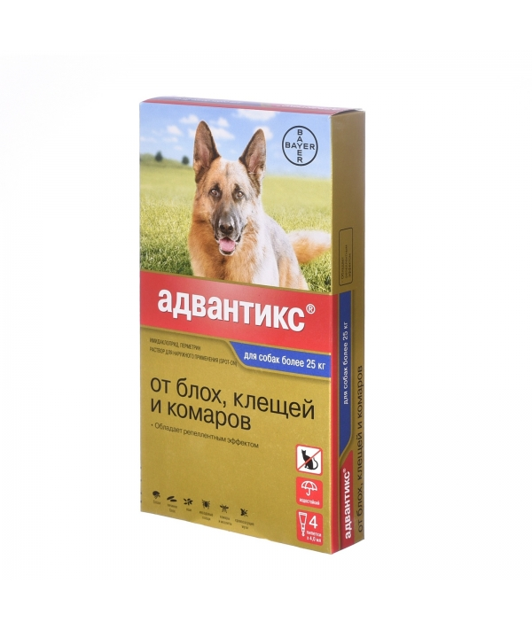 Адвантикс Капли д/собак от 25кг от блох, клещей, 4пипетки – 13272