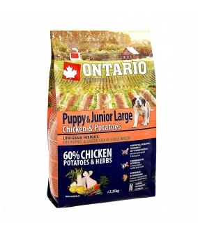 Для щенков крупных пород с курицей и картофелем (Ontario Puppy & Junior Large Chicken & Potatoes 2,25kg) 214 – 10435