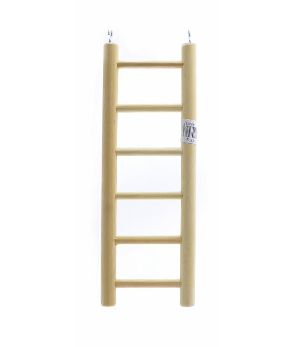 Деревянная лесенка для птиц 6 ступеней 8.5*24 см (Ladder wood 6 rungs 8.5x24 cm) 14392..