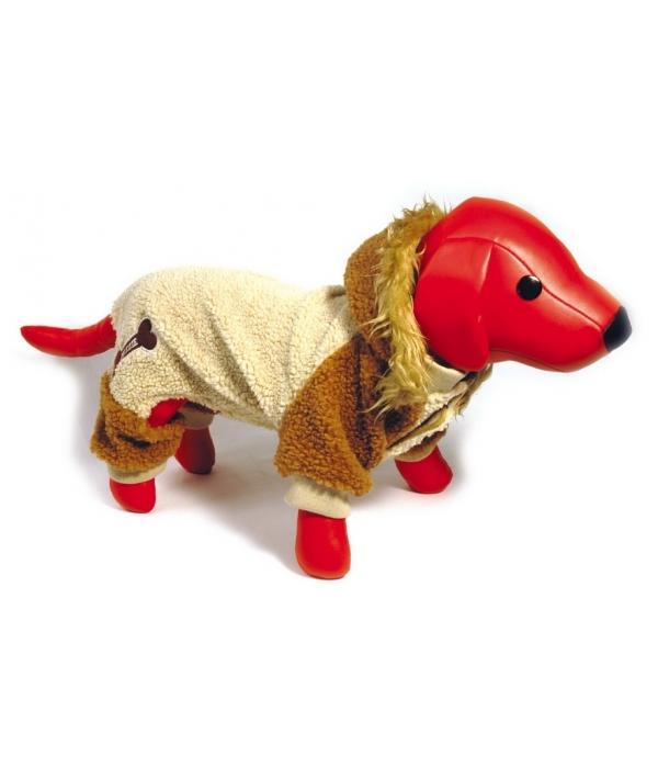 Комбинезон бежевый с капюшоном и тканевой подкладкой для собак, 25см, иск.мех (5615029)