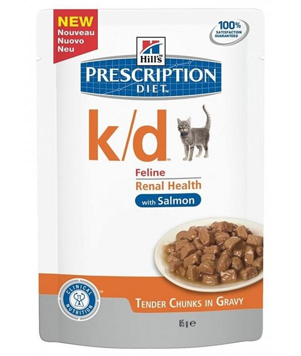 Паучи K/D для кошек при лечении почек с лососем (кусочки в соусе) 1884M