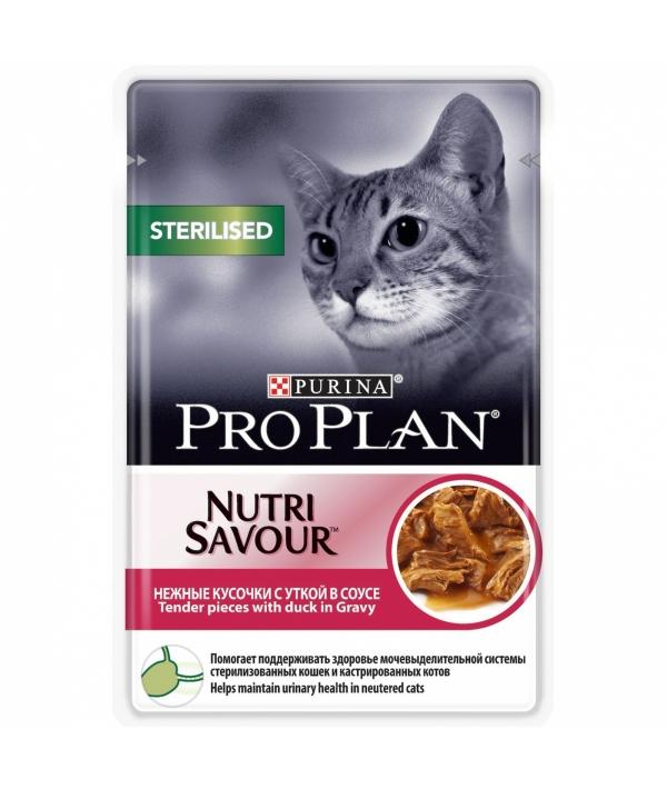 Паучи Кусочки в соусе для кастрированных кошек с уткой (Sterilised) 12305886