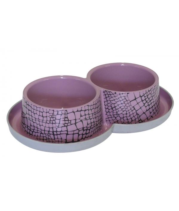 Двойная нескользящая миска с защитой от муравьев Trendy – Дикий мир, 2 *350 мл, розовая