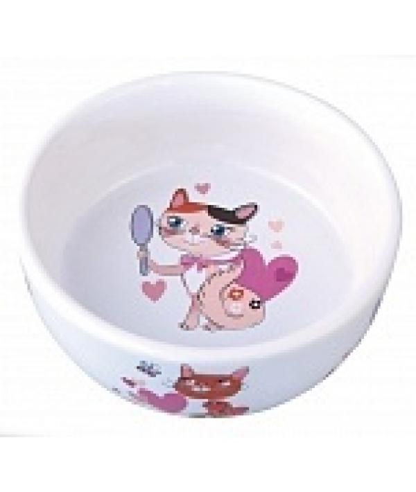 Миска керамическая для кошек, 300мл, 12,5*4,5см (5637004)