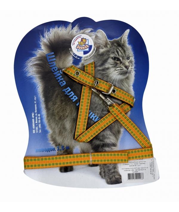 Шлейка с поводком 1,5м для кошек оранжево – зеленая