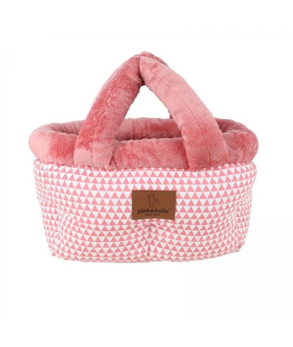 Кровать – переноска с узором треугольники, розовый, размер М (26 х 18 х 22) (XENA /PINK/M) NAPA – AU7126 – PK – M