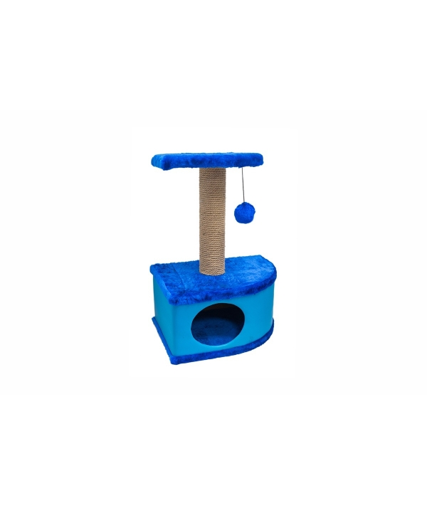 Домик – когтеточка угловой Конфетти синий 49*37*70