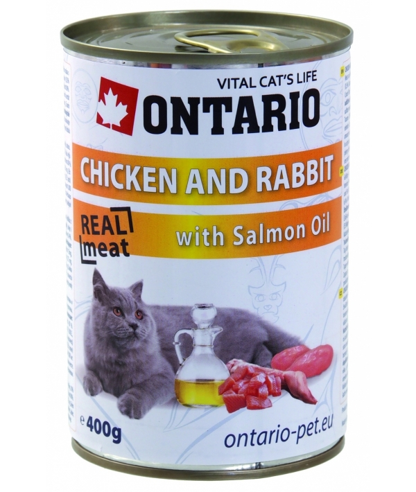 Консервы для кошек: курица и кролик (ONTARIO konzerva Chicken,Rabbit,Salmon Oil 400g) 213 – 2132