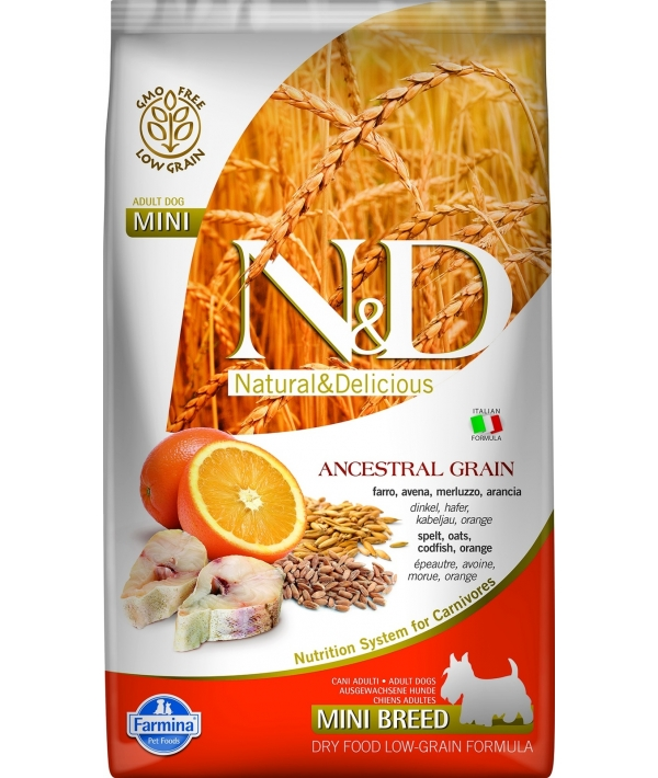 N&D LG Сухой корм для собак мелких пород с треской и апельсином 4030