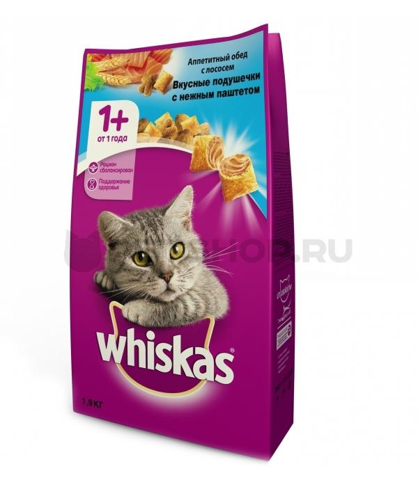 Сухой корм для кошек Аппетитный обед с лососем, подушечки 10150208