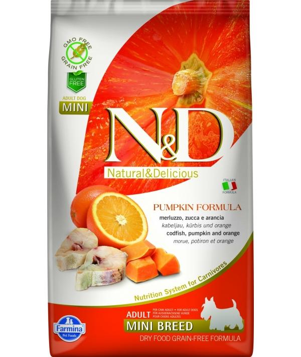 N&D GF Беззерновой корм для собак мелких пород с тыквой, треской и апельсином 2036