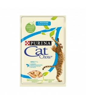 Паучи для кошек Кусочки в желе с лососем и зеленым горошком 12349811