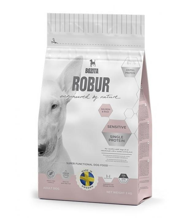 Robur для взрослых собак с нормальным уровнем активности и чувствительным пищеварением, с лососем (Sensitive Single Protein Salmon & Rice 21/11)