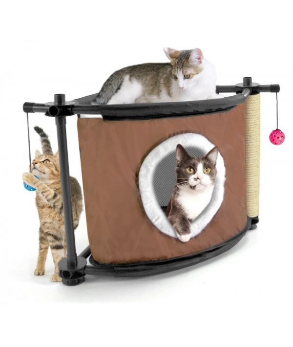 """Игровой комплекс с когтеточкой для кошек: Сонное царство """"Sleepy Corner"""": 44*45*45см, сизаль (pl0306)"""