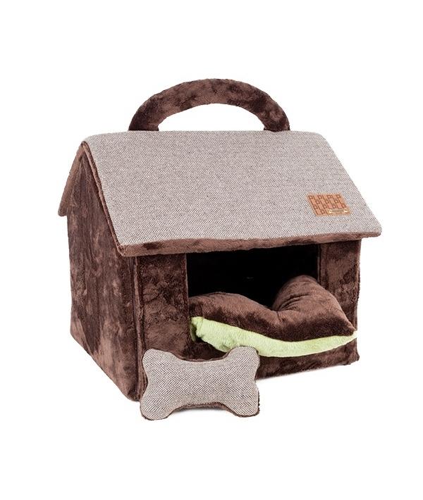 """Домик """"Вита"""" со съемной подушкой+игрушка – косточка, коричневый (43 см х 40 см х 36 см) (WITTA HOUSE/BROWN/FR) PAPD – AU1340 – BR – FR"""