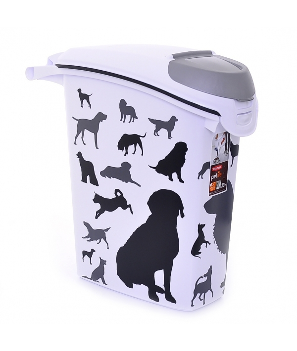 "Контейнер для корма ""Собаки"", черно – белый, на 10кг/23л, 23*50*50см (210341)"