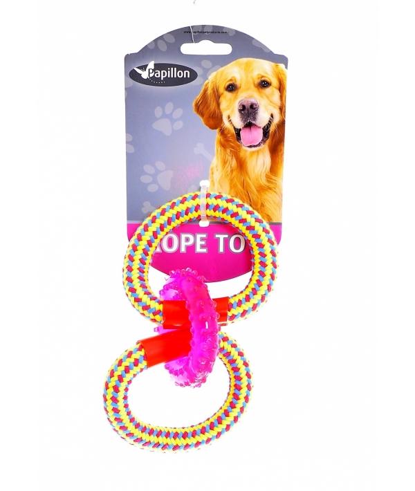 "Игрушка для собак ""Тройное кольцо"" ,18 см / Weaving rope toy with TRP 18cm 90 – 100 g, yellow/pink (3/54) 140849"