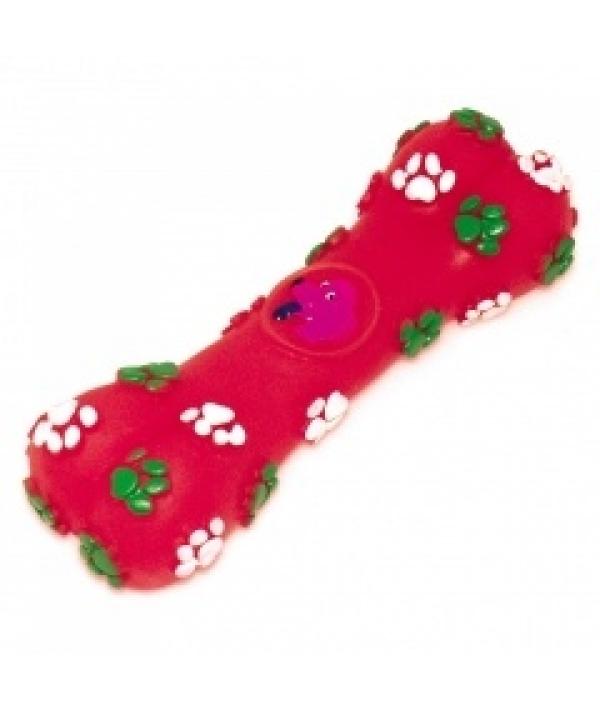 """Игрушка – косточка """"Собачья радость"""" малинового цвета для собак, 14*5см, винил (5604024)"""