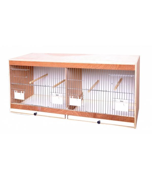 Деревянная клетка для птиц с дверцами для кормления 80 * 30 * 40 см (Wooden rearing cage front with feeder – doors 80 cm) 14733