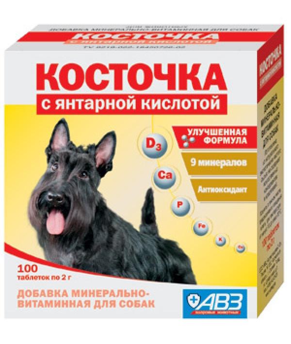Подкормка Косточка с Янтарной кислотой для собак, 100таб.