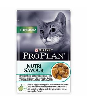 Паучи Кусочки в желе для кастрированных кошек с океанической рыбой(Sterilised) 12287097