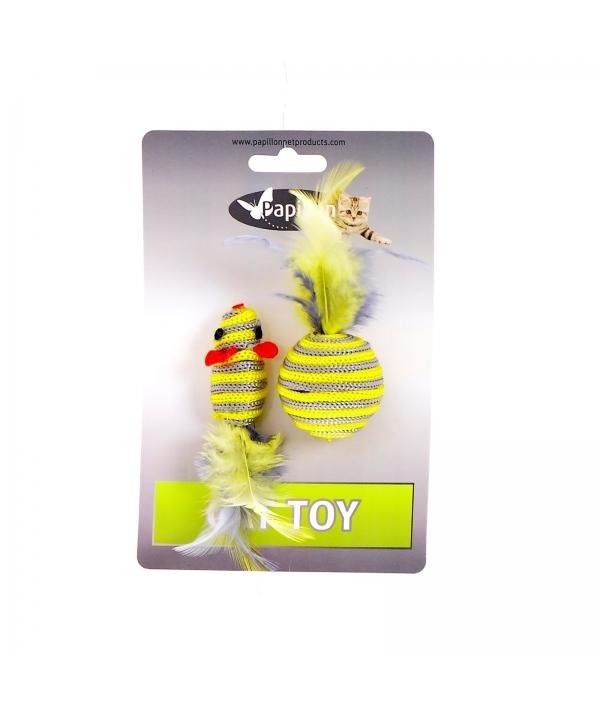 """Мышка и мячик с перьями"" 5+4см серо – желтые (Cat toy mouse 5 cm and ball 4 cm with feather on card) 240067"