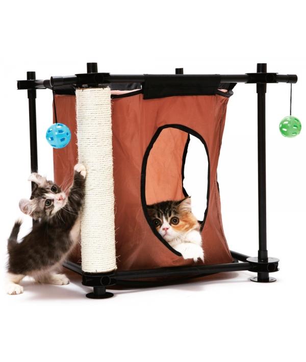 """Игровой комплекс с когтеточкой для кошек: Тайное укрытие. """"Hideaway"""": 44*45*45см, сизаль (pl0303)"""