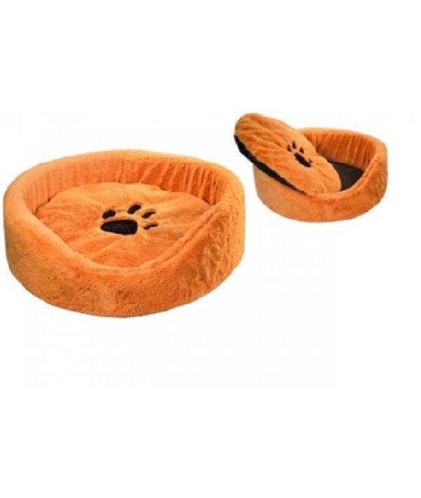 Лежак круглый 40*40*16см с подушкой (9331) рыжий