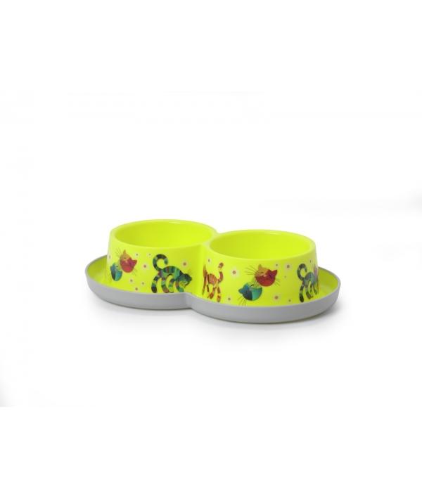 Двойная нескользящая миска с защитой от муравьев Trendy – Друзья навсегда, лимонно – желтый, 2 *350 мл (double trendy dinner – 2 x 350 ml friends forever) MOD – H136 – 329 – FF.