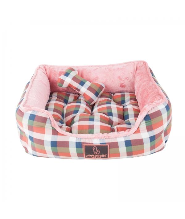 """Кровать – лежанка со съемной подушкой """"Клетка"""", оранжевый (49 х 44 х17) (AMORETTE HOUSE/DK.ORANGE/FR) NAQA – AU7231 – DO – FR"""