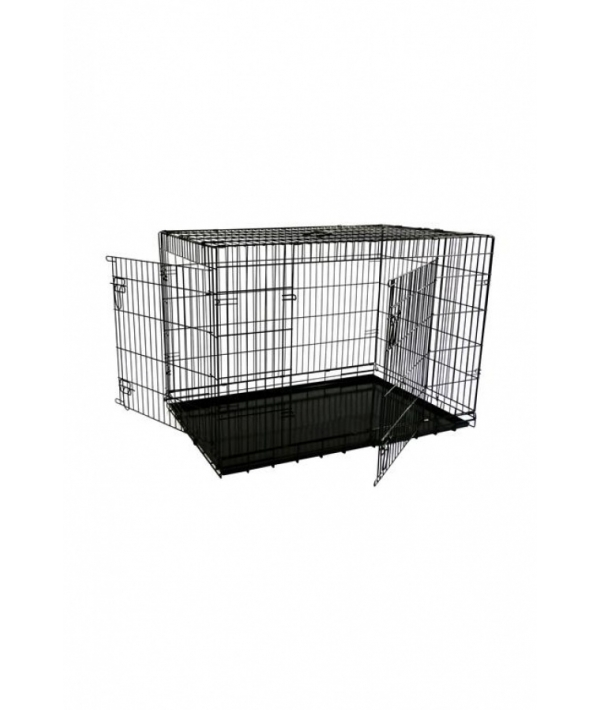 Клетка облегченная металлическая с 2 дверками 87*58*67 см, черная (Economic wire cage black 2 doors) 151287L