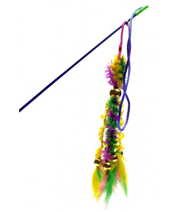 Игрушка для кошек Удочка 6 вельветовых хвостиков с перьями (430262)16423