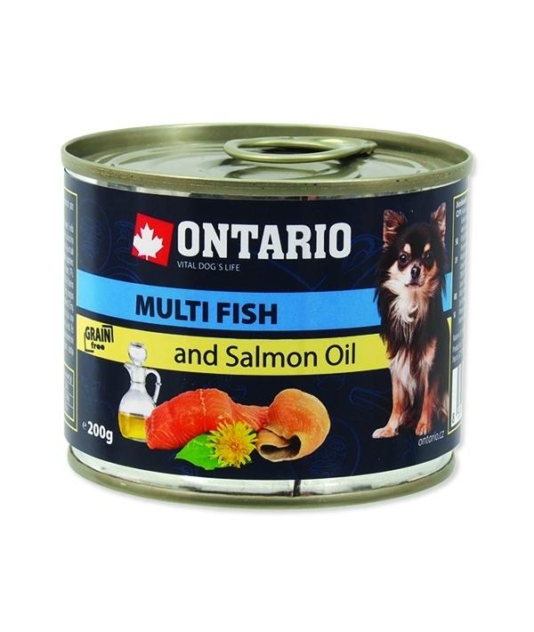 Консервы для собак: рыбное ассорти (ONTARIO Mini – Multi Fish and Salmon oil 200g) 214 – 2021