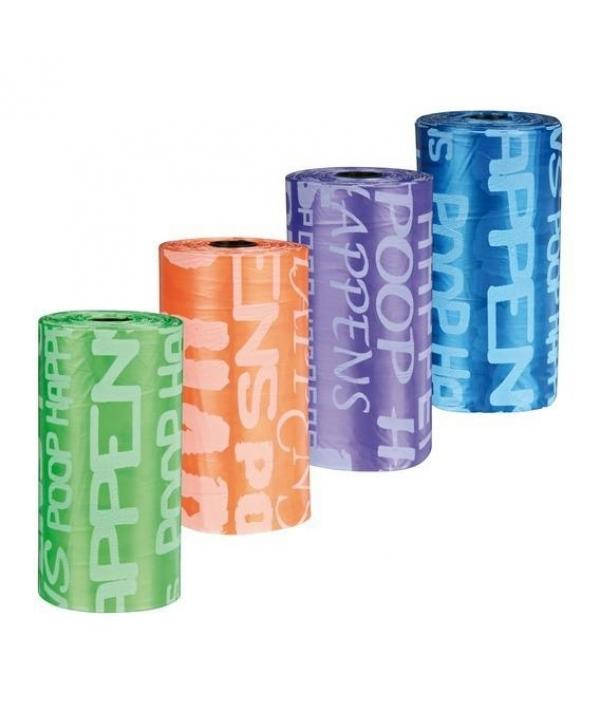 Пакеты для уборки за собаками, 3 л, 8 рулонов по 20 шт, цветные 22844