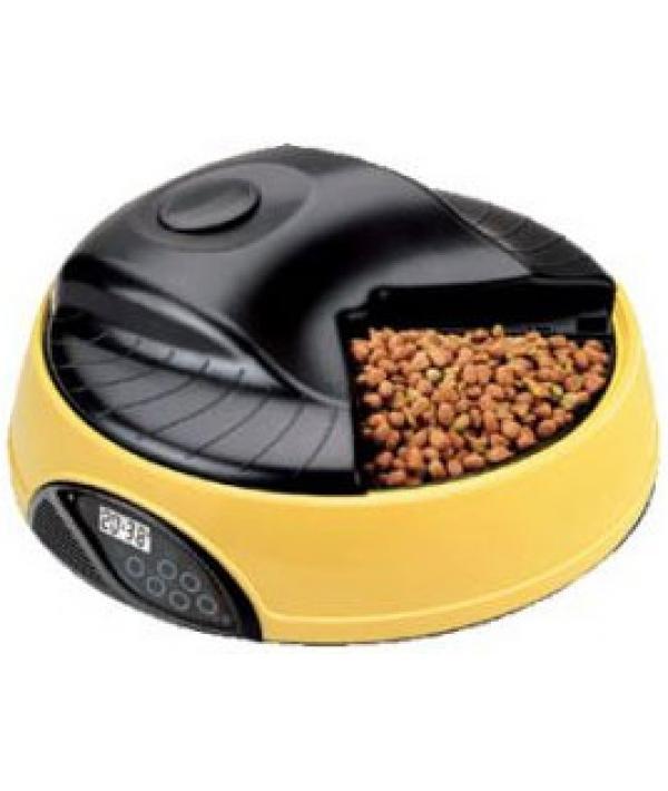 Автокормушка на 4кормления для сухого корма и консерв, с емкостью для льда Желтая PF1Y