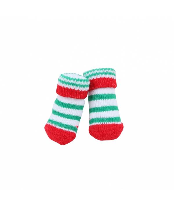 """Носочки для собак в полоску """"Гринч"""", красный, размер M (9 см х 3 см) (GRINCH /RED/M) PAOC – SO1270 – RD – M"""
