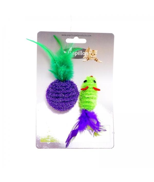 """Игрушка для кошек """"Мышка и мячик с перьями"""" 5+4см, двуцветные (Cat toy mouse 5 cm and ball 4 cm with feather on card) 240051"""