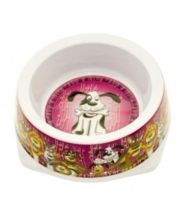 """Миска """"Довольный питомец"""" для собак с антискользящими вставками, 500мл, размер – 17,5*17,5*5,5см, пластик (5619008)"""