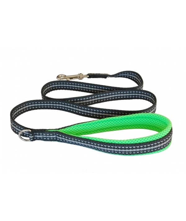 Мягкий светоотражающий поводок неоновый зеленый 20mm x 1,2m (LEASH FLUO GREEN SZ 4/6) C300GF060