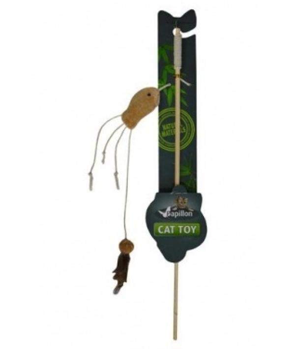 "Дразнилка ""Удочка с рыбкой"" 40 + 7см (Cat toy fishing rod with fish natural) 240008"