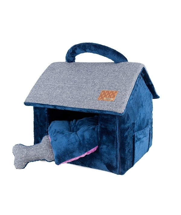 "Домик ""Вита"" со съемной подушкой+игрушка – косточка, темно – синий (43 см х 40 см х 36 см) (WITTA HOUSE/NAVY/FR) PAPD – AU1340 – NY – FR"