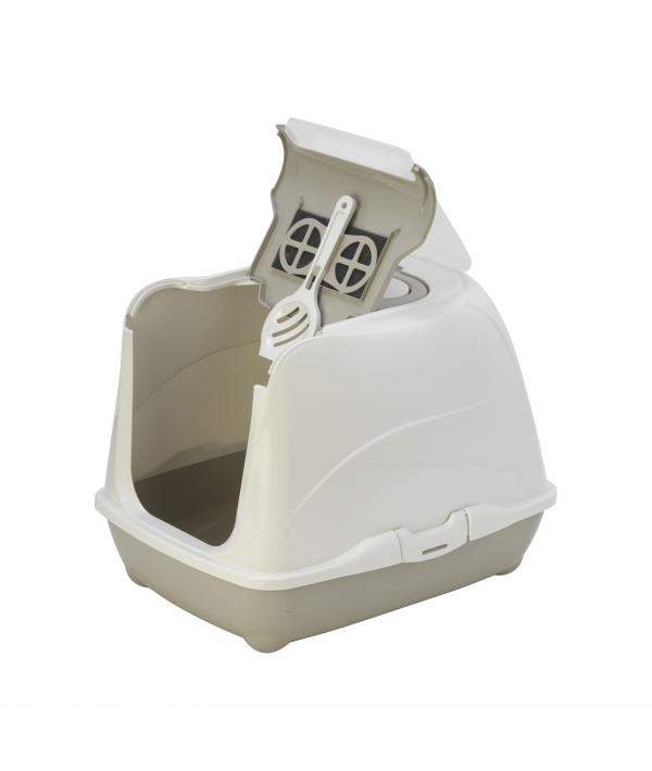 Туалет – домик Flip с угольным фильтром, 50х39х37см, теплый серый (Flip cat 50 cm) MOD – C230 – 330 – B.