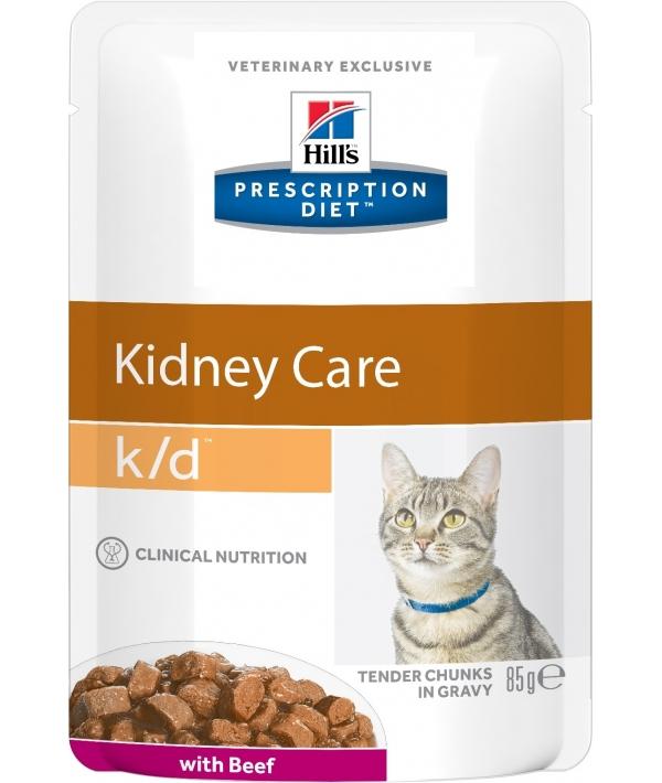 Паучи K/D для кошек при лечении почек с говядиной(k/d Feline with Beef) 2741M