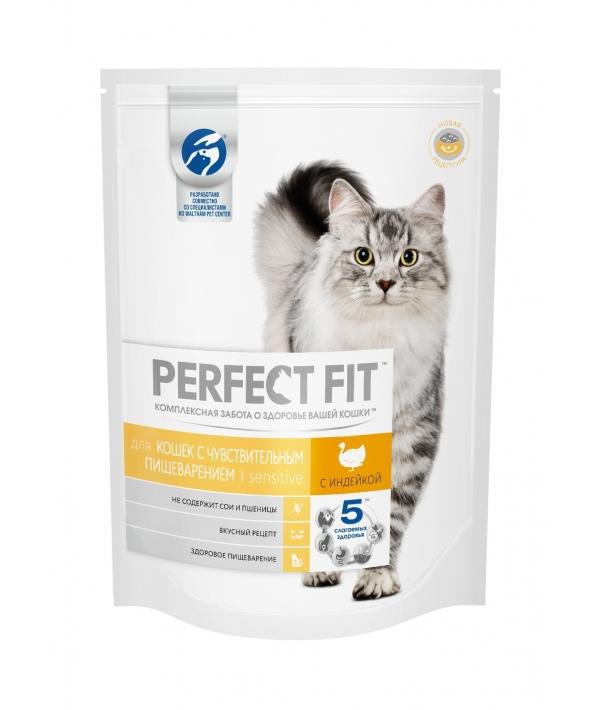 Сухой корм для чувствительных кошек, с индейкой (PERFECT FIT Sensitive Tk 6*1.2kg) 10162235