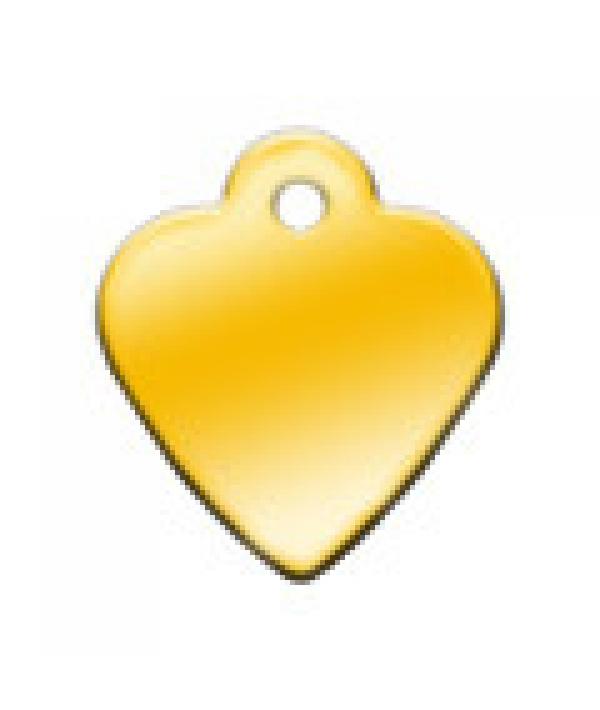 Адресник Сердце малое золотое, 26*29мм, латунь (7323 – 03)