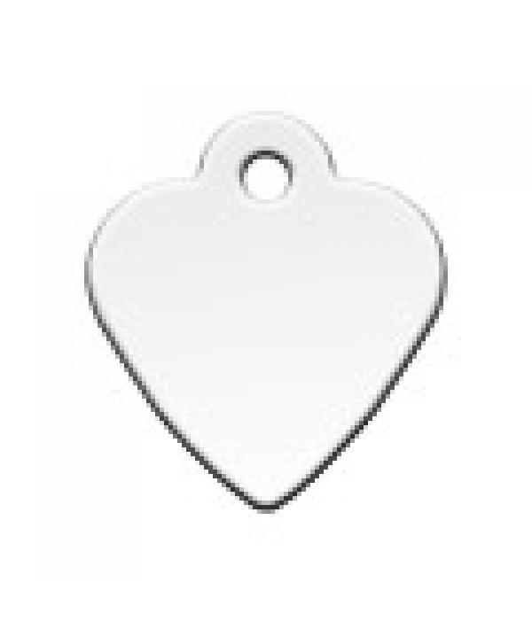 Адресник Сердце малое серебрянное, 26*29мм, латунь (7323 – 02)