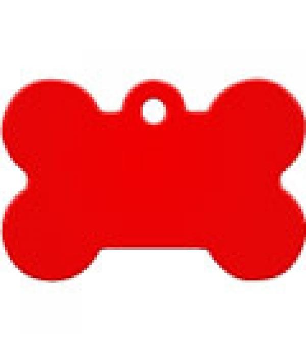 Адресник Косточка большая красная, 38*26мм, алюминий (7324 – 04)